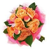 Цветастый букет цветка от роз изолированных на белой предпосылке. Стоковая Фотография