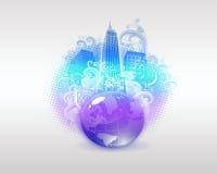 Цветастые город и глобус Backround Стоковое Фото