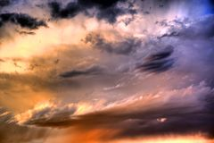 Цветастый заход солнца HDR Стоковое фото RF
