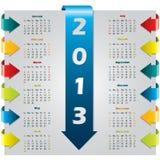 Цветастый календар конструкции стрелки иллюстрация штока