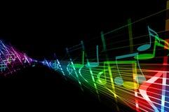 Цветастый музыкальный конспект с линиями и примечаниями Стоковое фото RF