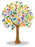 Цветастый логотип дерева иллюстрация штока