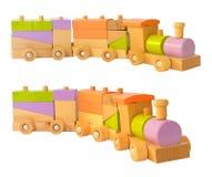 цветастый поезд деревянный стоковые фотографии rf