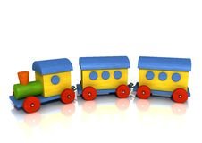 цветастый поезд деревянный Стоковые Изображения RF