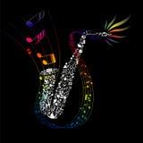 Цветастый саксофон с составленными элементами нот Стоковая Фотография RF