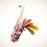 Цветастый саксофон иллюстрация штока