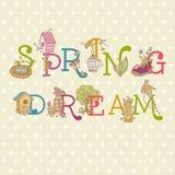 Цветастый текст весны Стоковые Изображения