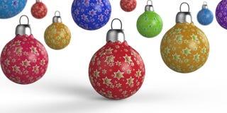 Цветастый шарик рождества иллюстрация штока
