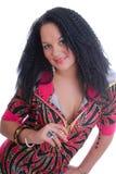 цветастым изолированные платьем сексуальные детеныши женщины smilin Стоковые Фото