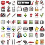 54 цветастых значка сеты Стоковое Изображение