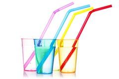 4 цветастых питья с соломами Стоковое Фото