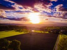 Цвета захода солнца Германии природы трутня стоковые фото