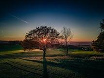 Цвета захода солнца Германии природы трутня стоковые фотографии rf