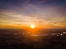 Цвета захода солнца Германии природы трутня стоковая фотография