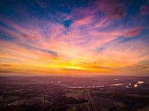 Цвета захода солнца Германии природы трутня стоковые изображения