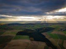 Цвета захода солнца Германии природы трутня стоковые изображения rf