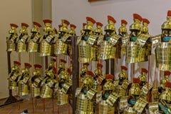 цвета Золото римский панцырь в городе Gerona Испании, 13-ое мая 2017 Стоковое Изображение
