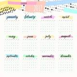 Цвета дизайна календаря 2017 художнические Стоковая Фотография RF