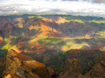 Цвета каньона на заходе солнца, Гавайских островов waimea Стоковое фото RF