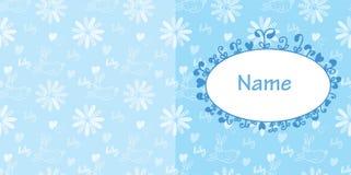 Цвета карточки младенца голубые с кроликом и цветками Стоковые Фотографии RF