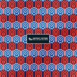 Цвета контракта конспекта голубые и красные винтажной картины в предпосылке минимального deco геометрической Вы можете использова иллюстрация штока