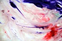 Цвета краски пинка голубого красного цвета белые, абстрактная предпосылка краски Пятна картины Стоковое Фото