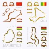 Цвета Марокко, Мали, Маврикия и Малави Стоковые Фото