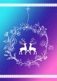 цвета Неон поздравительная открытка с нарисованным вручную северным оленем и венком Стоковая Фотография