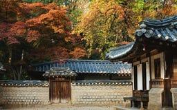 Цвета падений на королевском дворце в Корее стоковое изображение rf
