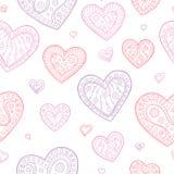 Цвета пинка doodle сердца вектор иллюстрации картины графического фиолетового безшовный Стоковое Изображение RF