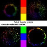 цвета 6 символ радуги: Кольцо, Солнце, выплеск, звезды Стоковая Фотография RF