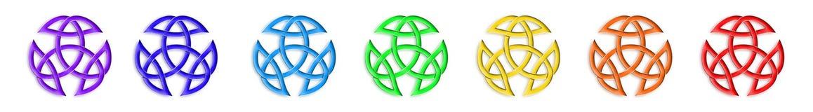 Цвета Chakra узла троицы иллюстрация штока