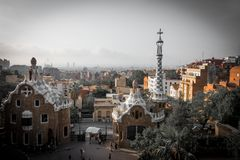 Цвета guell парка в Барселоне, Испании стоковая фотография rf