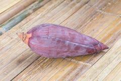 Цветение банана на бамбуковой предпосылке Стоковое Фото