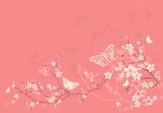 Цветение весны и предпосылка бабочек бесплатная иллюстрация