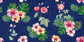 Цветение лета Безшовная картина вектора с розами, тропическими цветками и листвой бесплатная иллюстрация