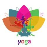 Цветение, лотос, цветок, йога, иллюстрация вектора, app, знамя иллюстрация вектора
