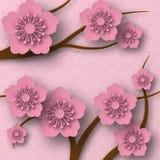 Цветения сливы на ветвях, бумажном стиле с тенями Розовая предпосылка с картиной иллюстрация вектора