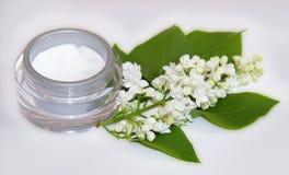 Цветеня sprig опарника комплект косметики сирени естественного cream белый Стоковые Фотографии RF