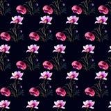 цветет безшовные стилизованные обои Стоковые Изображения