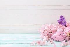 Цветет гиацинты, крокус и декоративное сердце Стоковые Изображения RF