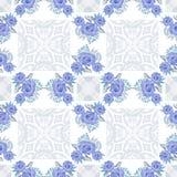 Цветет голубая флористическая безшовная белизна шнурка картины Стоковое фото RF