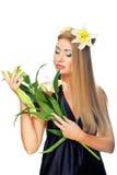 цветет желтый цвет женщины Стоковое фото RF