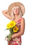 цветет желтый цвет женщины Стоковая Фотография RF