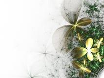цветет зеленый цвет фрактали золотистый Стоковое Изображение