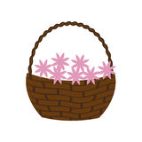 Цветет значок корзины иллюстрация штока