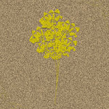 Цветет иллюстрация желтого коричневого цвета влияния текстуры notepaper Стоковые Изображения RF