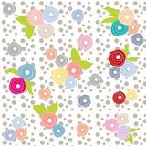 Цветет картина multicolor серой предпосылки точки польки ретро красивая Стоковая Фотография RF
