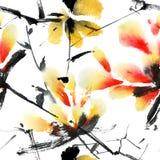 цветет красный желтый цвет Стоковое Изображение
