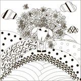 Цветет овцы с бабочкой на орнаментальных холмах для книжка-раскраски, анти- стресса Стоковая Фотография RF